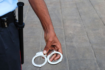 security guard with handcuffs