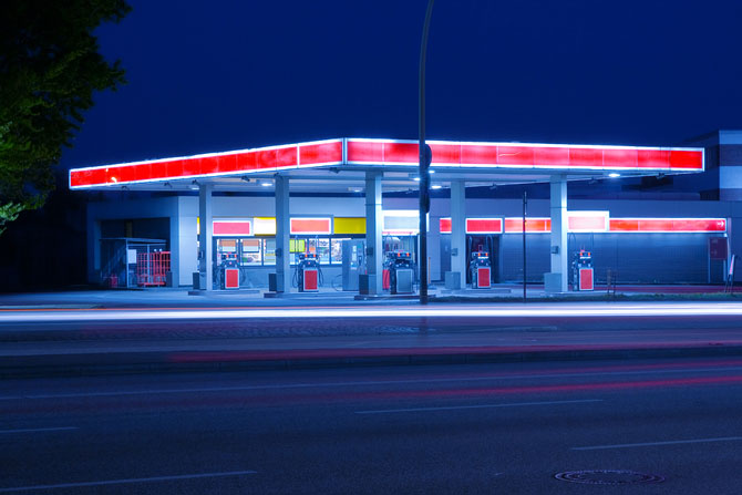 Gas Station and Convenience Store at night