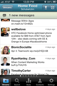 hootsuite iphone app streams view