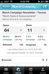 mailchimp iphone app campaign report view