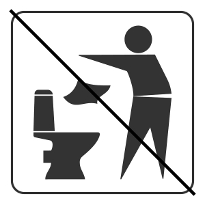 Do not litter in toilet icon. Keep clean sign. Silhouette of a man, throw garbage in a bin, in square isolated on white background. No littering warning symbol. Public Information. Vector illustration