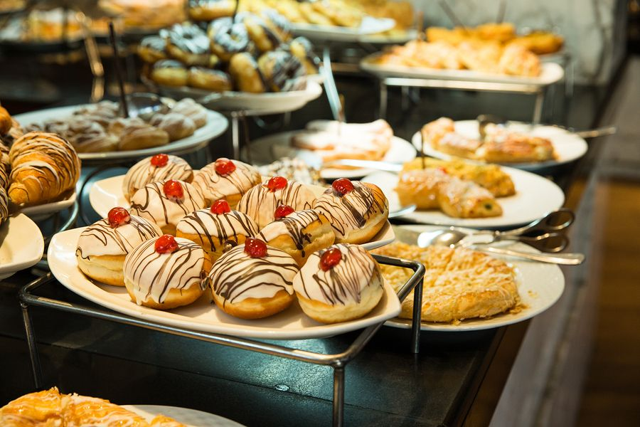 food on display in a bakery