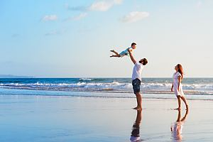 Family on vacation at beach