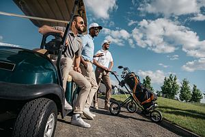 Group of golfers with golf cart insurance