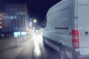 Commercial vehicle driving on road