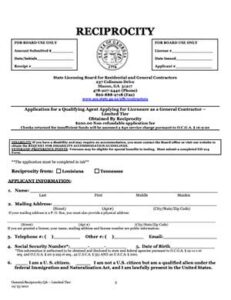 General Contractor Limited Tier Application
