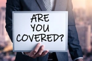 businessman holding are you covered pamplate